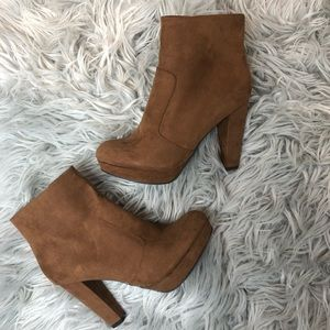 Mossimo Brown  Faux Suede Chunky heel zip up boots